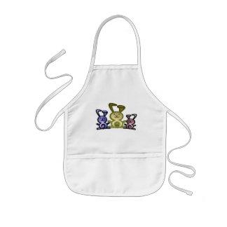 Cute three bunnies digital art kids apron
