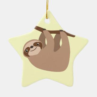 Cute Three-Toed Sloth Ceramic Ornament