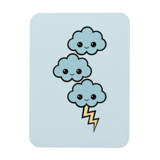 Cute Thunder Clouds Rectangular Photo Magnet