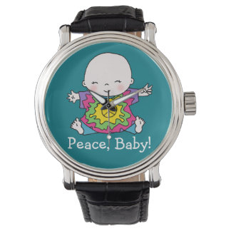 Cute Tie Dye Hippie Peace Baby Wrist Watch