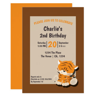 Cute Tiger Birthday Party Personalised Card