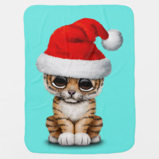Cute Tiger Cub Wearing a Santa Hat Baby Blanket