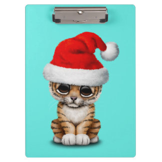 Cute Tiger Cub Wearing a Santa Hat Clipboard