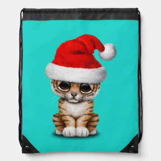 Cute Tiger Cub Wearing a Santa Hat Drawstring Bag