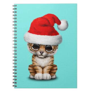 Cute Tiger Cub Wearing a Santa Hat Notebook