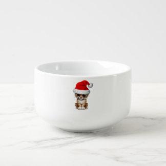 Cute Tiger Cub Wearing a Santa Hat Soup Mug
