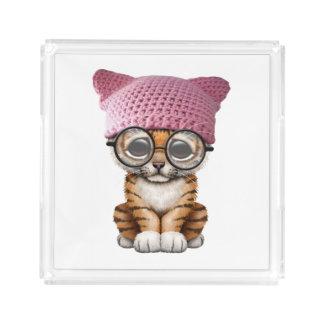 Cute Tiger Cub Wearing Pussy Hat Acrylic Tray