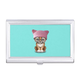 Cute Tiger Cub Wearing Pussy Hat Business Card Holder