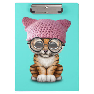 Cute Tiger Cub Wearing Pussy Hat Clipboard