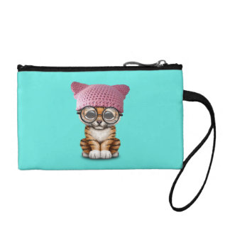 Cute Tiger Cub Wearing Pussy Hat Coin Purse