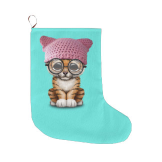 Cute Tiger Cub Wearing Pussy Hat Large Christmas Stocking