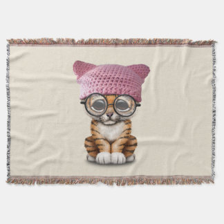 Cute Tiger Cub Wearing Pussy Hat Throw Blanket