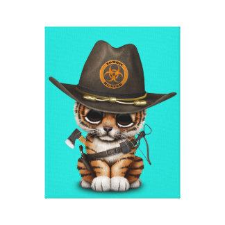 Cute Tiger Cub Zombie Hunter Canvas Print
