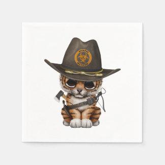 Cute Tiger Cub Zombie Hunter Disposable Serviettes