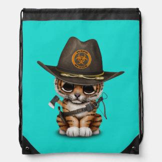 Cute Tiger Cub Zombie Hunter Drawstring Bag