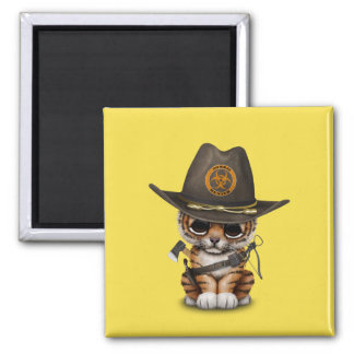 Cute Tiger Cub Zombie Hunter Magnet