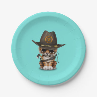 Cute Tiger Cub Zombie Hunter Paper Plate