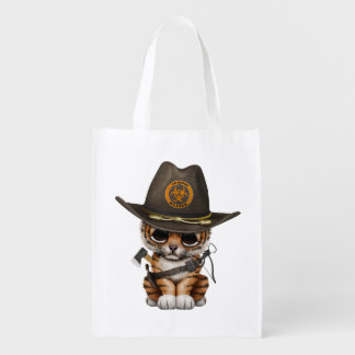 Cute Tiger Cub Zombie Hunter Reusable Grocery Bag