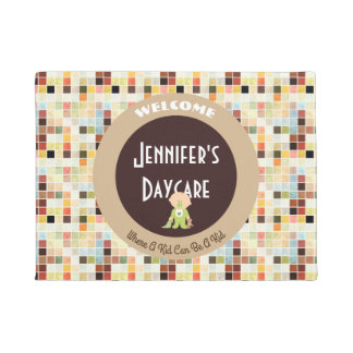Cute Tiles Personalized Daycare Welcome Doormat
