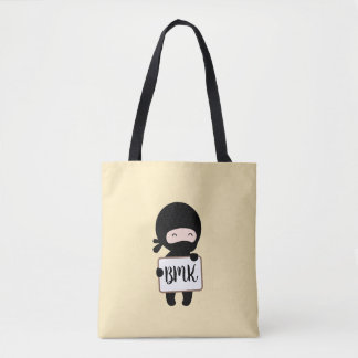 Cute Tiny Ninja Holding Sign on Yellow Monogram Tote Bag
