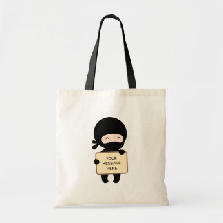 Cute Tiny Ninja Holding Sign Tote Bag
