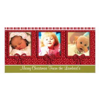 Cute Tiny Snowflakes Stripes Christmas Photo Picture Card