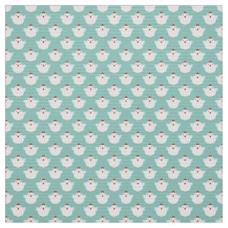 Cute Tiny White Chickens on Pale Blue Pattern Fabric