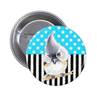 Cute Titmouse Polka Dot 6 Cm Round Badge