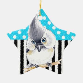 Cute Titmouse Polka Dot Ceramic Ornament
