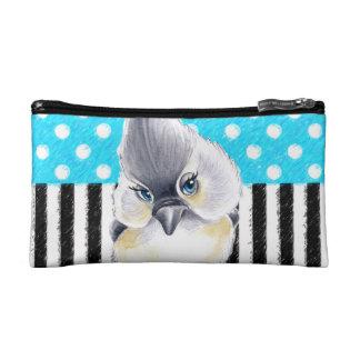 Cute Titmouse Polka Dot Cosmetic Bag