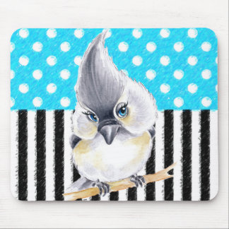 Cute Titmouse Polka Dot Mouse Pad