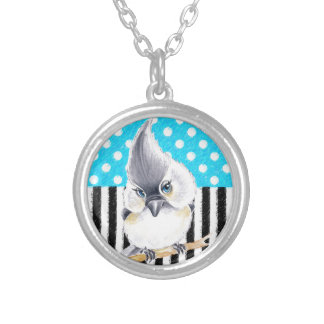 Cute Titmouse Polka Dot Silver Plated Necklace