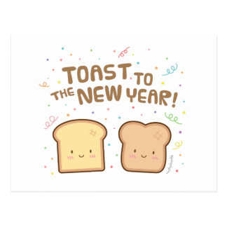Cute Toast to the New Year Pun Humor Greeting Postcard