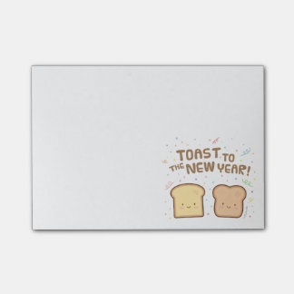 Cute Toast to the New Year Pun Humour Confetti Sticky Note