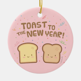 Cute Toast to the New Year Pun Room Decor Round Ceramic Decoration