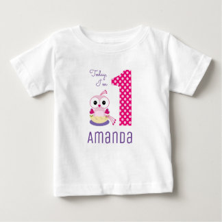 Cute Today I'm 1 Pink Cartoon Bird Birthday Baby T-Shirt