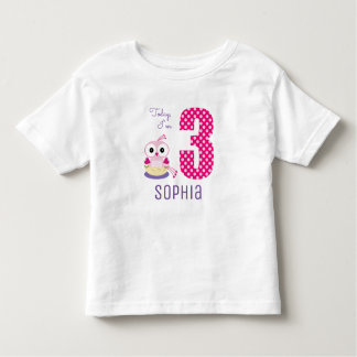 Cute Today I'm 3 Pink Baby Bird Birthday Toddler T-Shirt