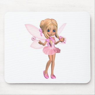 Cute Toon Ballerina Fairy in Pink - standing Mouse Pad