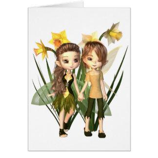 Cute Toon Daffodil Fairy Boy and Girl Card