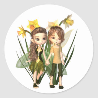 Cute Toon Daffodil Fairy Boy and Girl Round Sticker