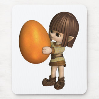 Cute Toon Easter Elf  - Orange Mouse Pad
