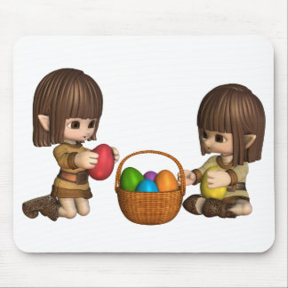 Cute Toon Easter Elves with Basket of Eggs Mouse Pads