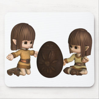 Cute Toon Easter Elves with Chocolate Egg Mouse Pad