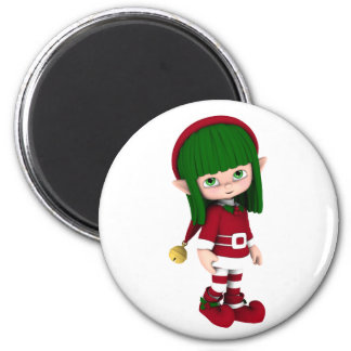 Cute Toon Elf Holiday 6 Cm Round Magnet