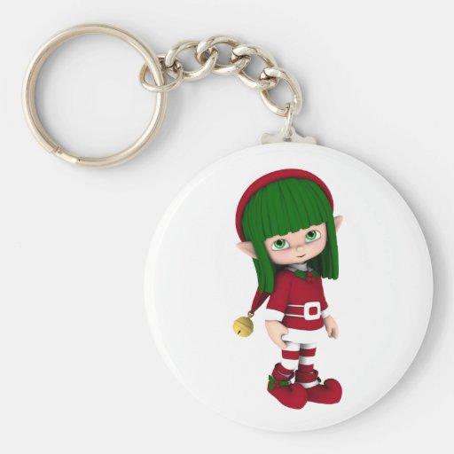 Cute Toon Elf Holiday Keychain