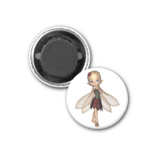 Cute Toon Fairy in Green and Red Flower Dress 3 Cm Round Magnet