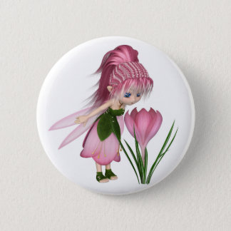 Cute Toon Pink Crocus Fairy, Standing by a Flower 6 Cm Round Badge