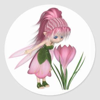 Cute Toon Pink Crocus Fairy, Standing by a Flower Classic Round Sticker