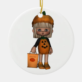 Cute Toon Trick-or-Treater Ceramic Ornament