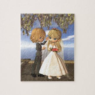 Cute Toon Wedding Couple on a Seaside Balcony Jigsaw Puzzle